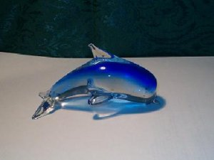 NEW Blue Color Hand Blown Glass Dolphin Figurine