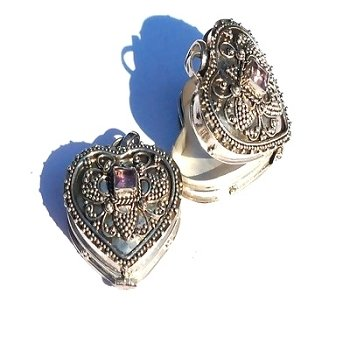 Sterling Silver Heart Shape Prayer Box or Urn Pendant with Amethyst