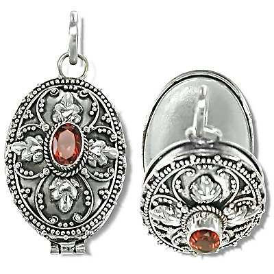 Sterling Silver Hand Made leaf design Prayer Box or Urn Pendant w/ Garnet