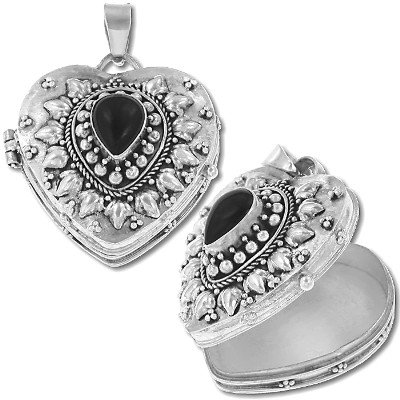 Sterling Silver Heart Shape Genuine Black Onyx Keepsake Prayer Box or Urn Pendant