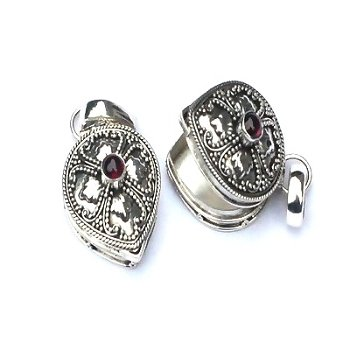 Sterling Silver Garnet Stone Hand Made Poison Box or Urn Pendant