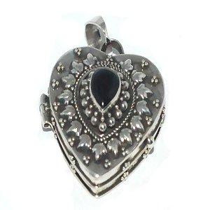 Sterling Silver Large Heart Shape Black Onyx Prayer Box or Urn Pendant