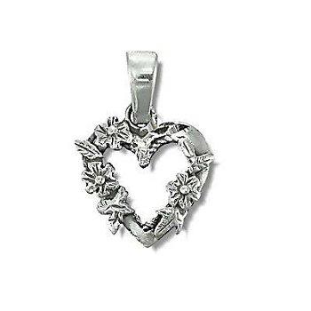 Sterling Silver Heart Flower Wreath Pendant