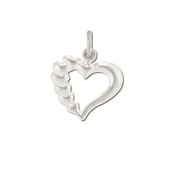 Sterling Silver Open Heart with Tiered Hearts Pendant