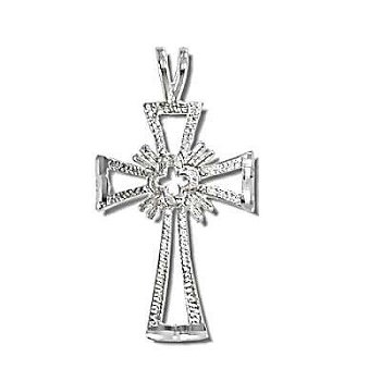 Sterling Silver Diamond Cut Cross Pendant