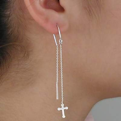 Pair of Sterling Silver 925 Cross Dangle Hook Ear Thread Earring