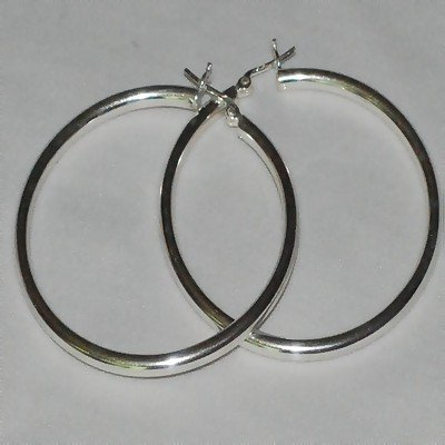 Sterling Silver Italian Pin Catch Hoop Earrings