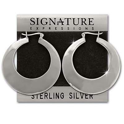 Sterling Silver Large Graduated Width Flat Hoop Earrings