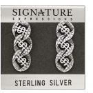 Pair of 925 Sterling Silver Dollar SIgn Link Dangle Earrings