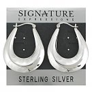 Sterling Silver Contemporary U Safety Pin Catch Hoops Earrings
