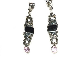 Sterling Silver Dangle Earrings with genuine Black Onyx and Cubic Zirconia