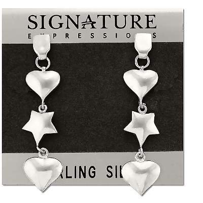 Sterling Silver Star and Hearts Dangles Earrings