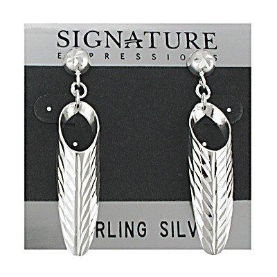Sterling Silver Diamond cut Half Cone Dangle Post Earring