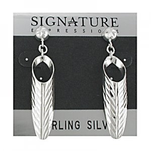Sterling Silver Diamond cut Half Cone Dangle Post Earring