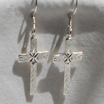 Sterling Silver Dangle Cross Earrings