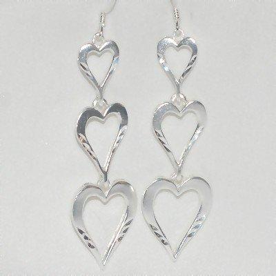 Sterling Silver Triple Heart Dangle Earrings