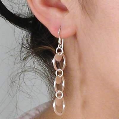Sterling Silver Triple Circle Dangle Earrings