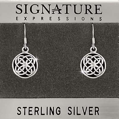 Sterling Silver Celtic Shield Knot Filigree Dangle Earring