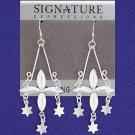 Sterling Silver Cross with Star Dangle Earrings