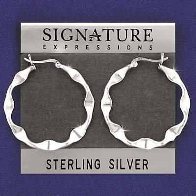 Sterling Silver Twisted Wavy Ribbon Hoop Earrings