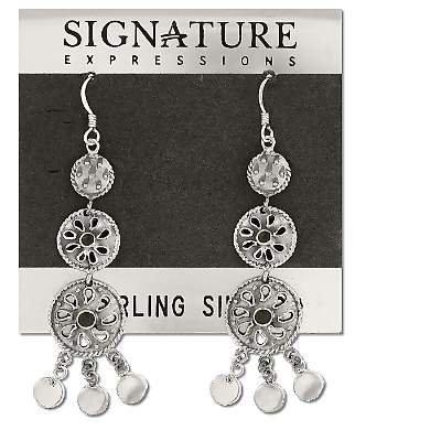 Sterling Silver Inlaid Onyx Mutli Ethnic Dangle Earrings