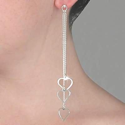 Sterling Silver 3 Linear Dangles Earrings w/ Heart Charms