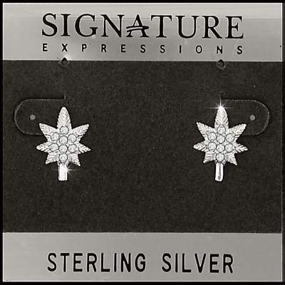 Sterling Silver Bud Leaf with 16 CZ Post Stud Earrings