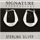 Sterling Silver Single Fold Wedge Hoop Earrings