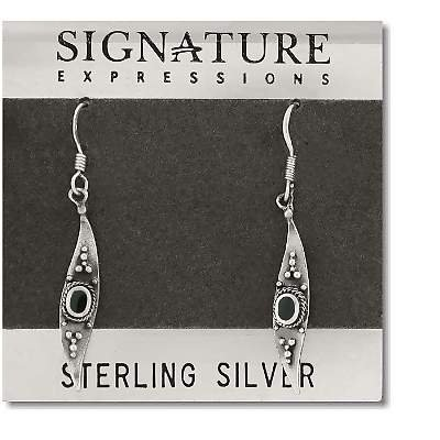 Sterling Silver Feather Dangle Earring with Genuine Stone