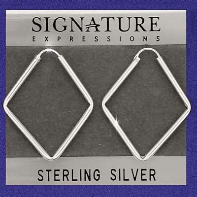 Sterling Silver Diamond Shaped Rhombus Hoop Earrings