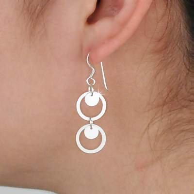 Sterling Silver Double Circle Dangle Earrings