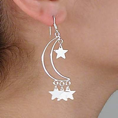 Sterling Silver Open Crescent With Dangle Stars Earrings