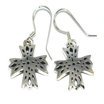 Sterling Silver Cross Windows Dangle Earrings
