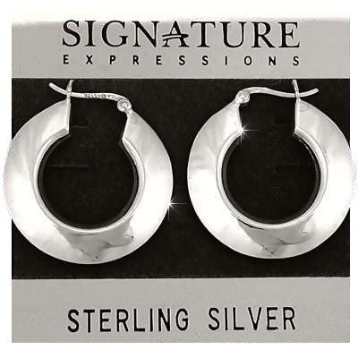 Sterling Silver Round Wide Puffed Hoop Earrings