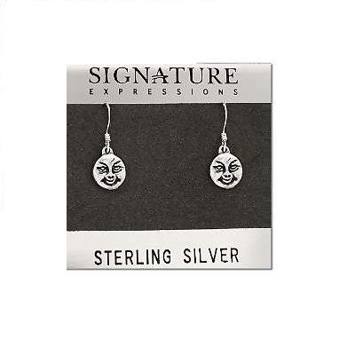 Sterling Silver Round Smiling Face Dangle Earring