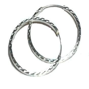 Sterling Silver Medium Diamond Cut Hoop Earrings