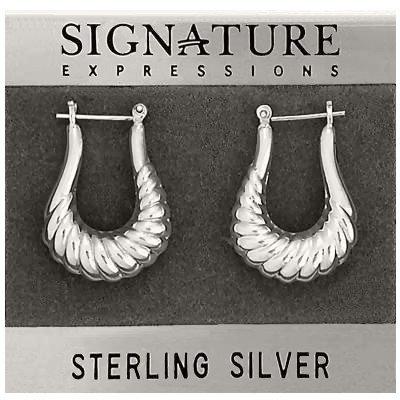 Sterling Silver Long Shrimp Open Hoop Earrings