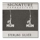 Sterling Silver Diamond Cut Number # 1 Mom Dangle Earrings