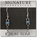 Sterling Silver Tear Drop Dangle Earrings with Turquoise