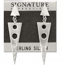 Sterling Silver Long Triangle Geometric Earrings