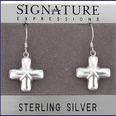 Sterling Silver Puff Cross Earrings.