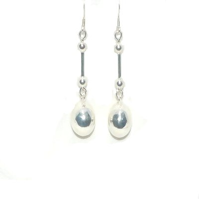 Sterling Silver Barbell And Puffball Dangle Earrings