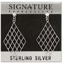 Sterling Silver Criss-Cross Rope Weave Diamond Shape Dangle Earrings