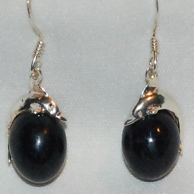 Sterling Silver Dolphin on Black Ball Dangle Earring