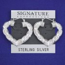 Sterling Silver Heart Shrimp Hoop Pin Catch Earrings with etchings