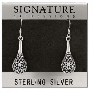 Sterling Silver Filigree Flower Vase Dangle Earrings