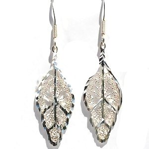 Sterling Silver Diamond Cut Filigree Leaf Dangle Earrings