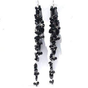 Sterling Silver Long Black Onyx Dangle Earrings