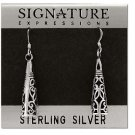 Sterling Silver Antique Filigree Cone Dangle Earrings