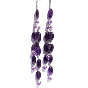 Sterling Silver Amethyst Long Dangle Earrings